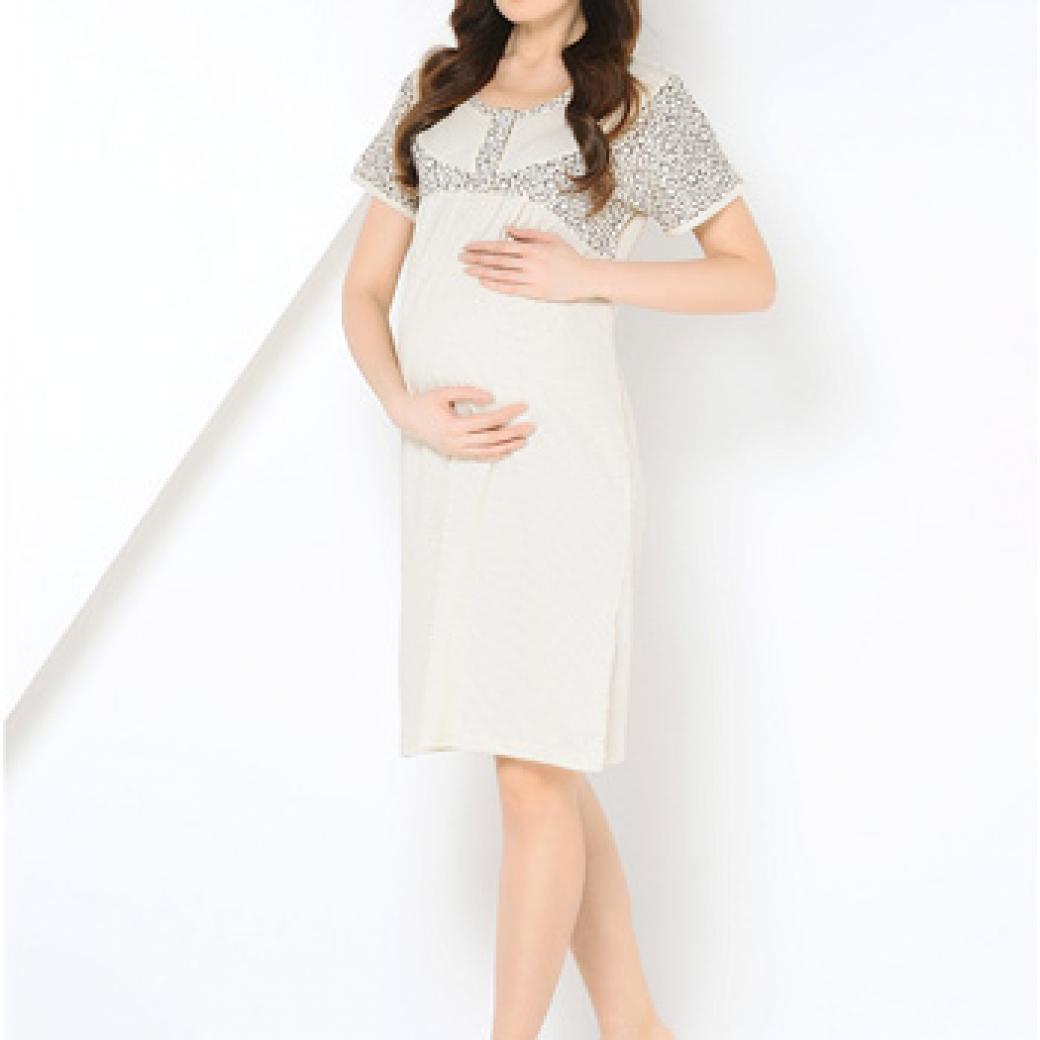 ccc6f3648b554ee Купить Ночная сорочка для беременных и кормящих, 40 НЕДЕЛЬ (молочный ...